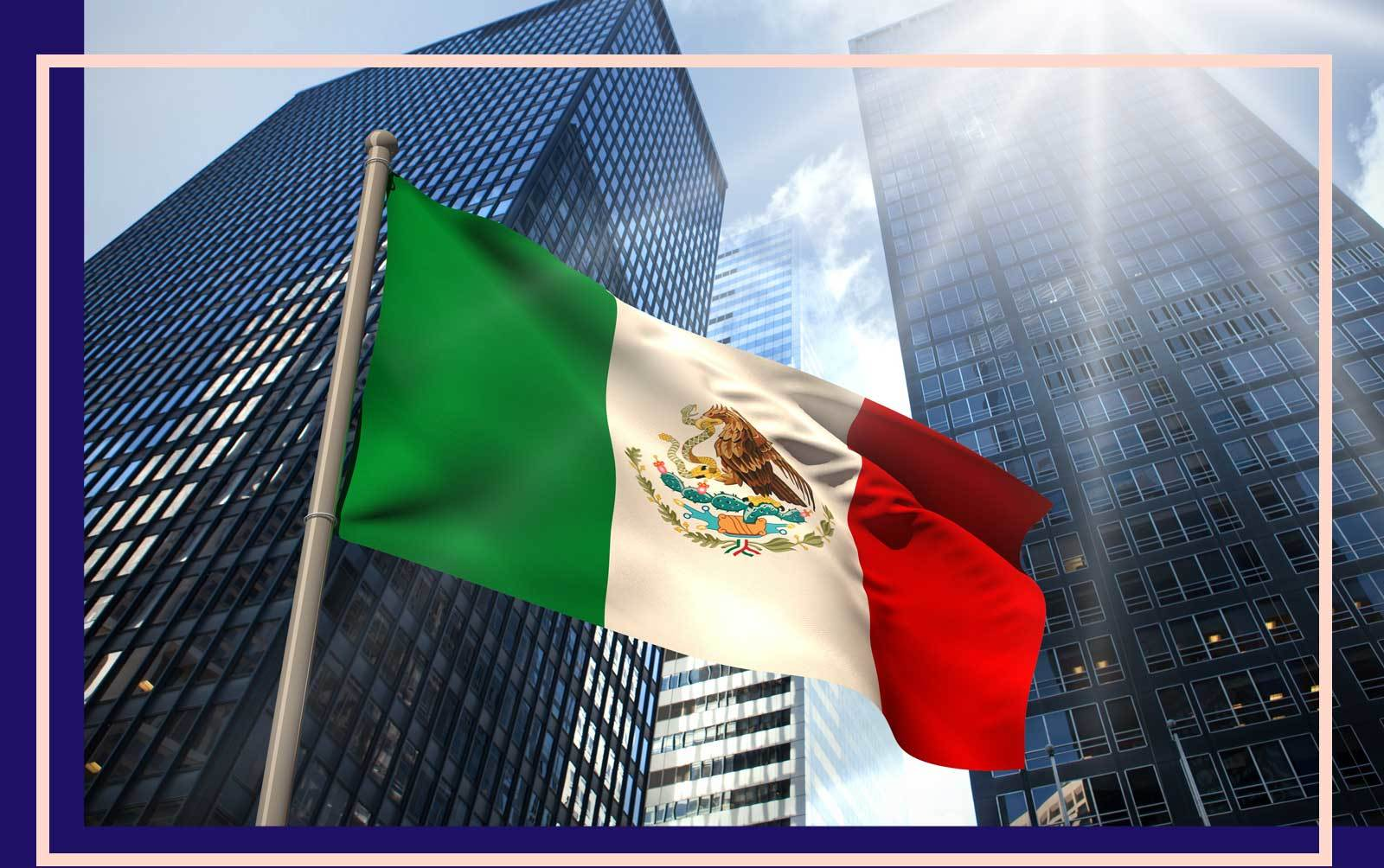 Pictured of Mexico City with the Mexico flag